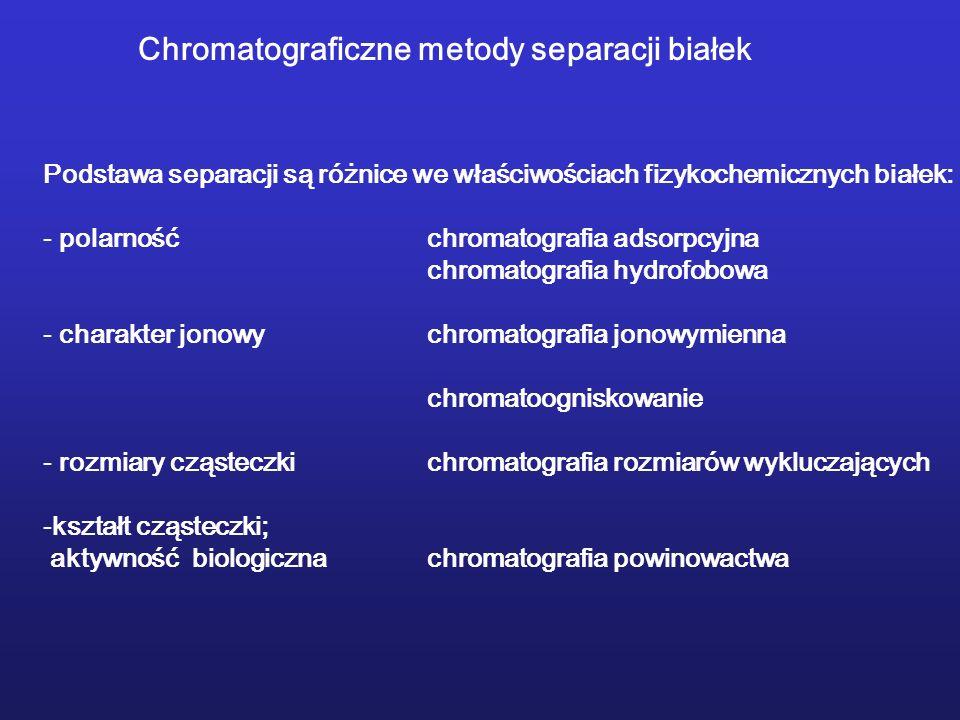 Chromatograficzne metody separacji białek Podstawa separacji są różnice we właściwościach fizykochemicznych białek: - polarnośćchromatografia adsorpcy