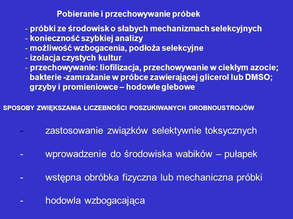 SPOSOBY ZWIĘKSZANIA LICZEBNOŚCI POSZUKIWANYCH DROBNOUSTROJÓW - zastosowanie związków selektywnie toksycznych - wprowadzenie do środowiska wabików – pu