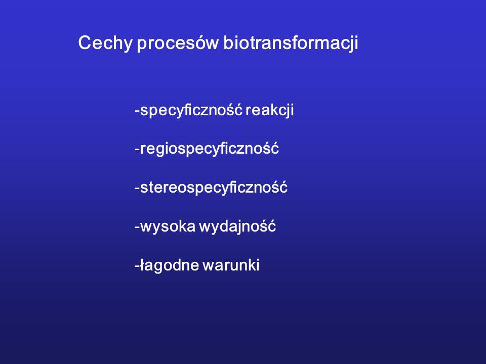 Cechy procesów biotransformacji -specyficzność reakcji -regiospecyficzność -stereospecyficzność -wysoka wydajność -łagodne warunki