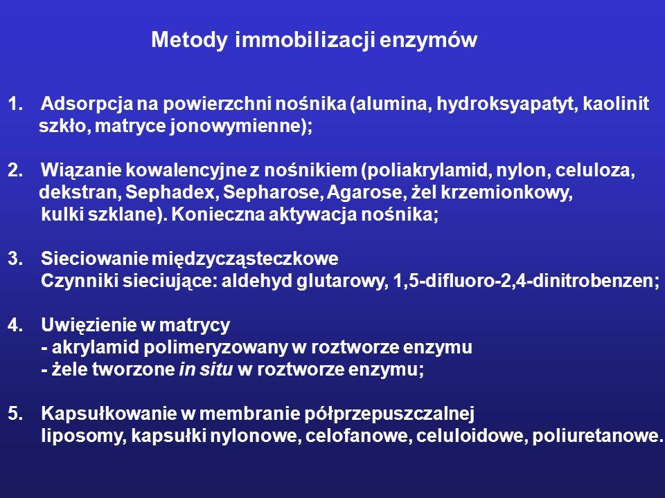 Metody immobilizacji enzymów 1.Adsorpcja na powierzchni nośnika (alumina, hydroksyapatyt, kaolinit szkło, matryce jonowymienne); 2.Wiązanie kowalencyj