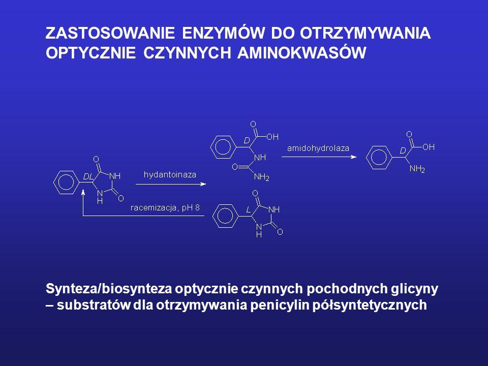 ZASTOSOWANIE ENZYMÓW DO OTRZYMYWANIA OPTYCZNIE CZYNNYCH AMINOKWASÓW Synteza/biosynteza optycznie czynnych pochodnych glicyny – substratów dla otrzymyw