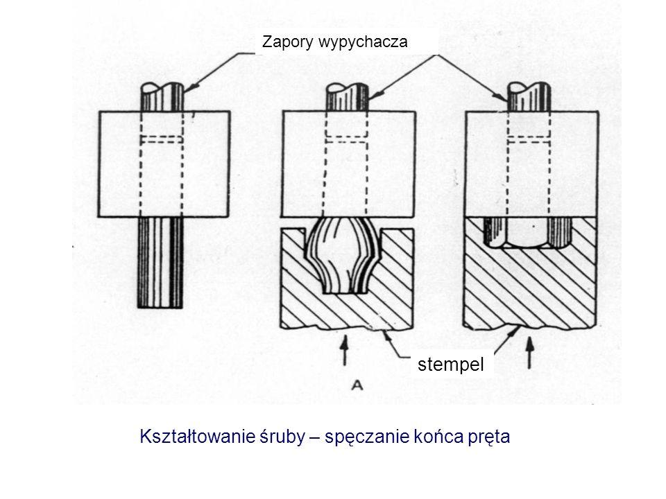 Kształtowanie śruby – spęczanie końca pręta Zapory wypychacza stempel