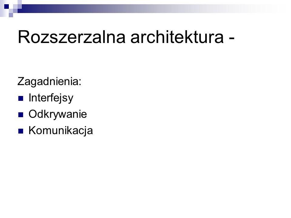 Rozszerzalna architektura - Zagadnienia: Interfejsy Odkrywanie Komunikacja