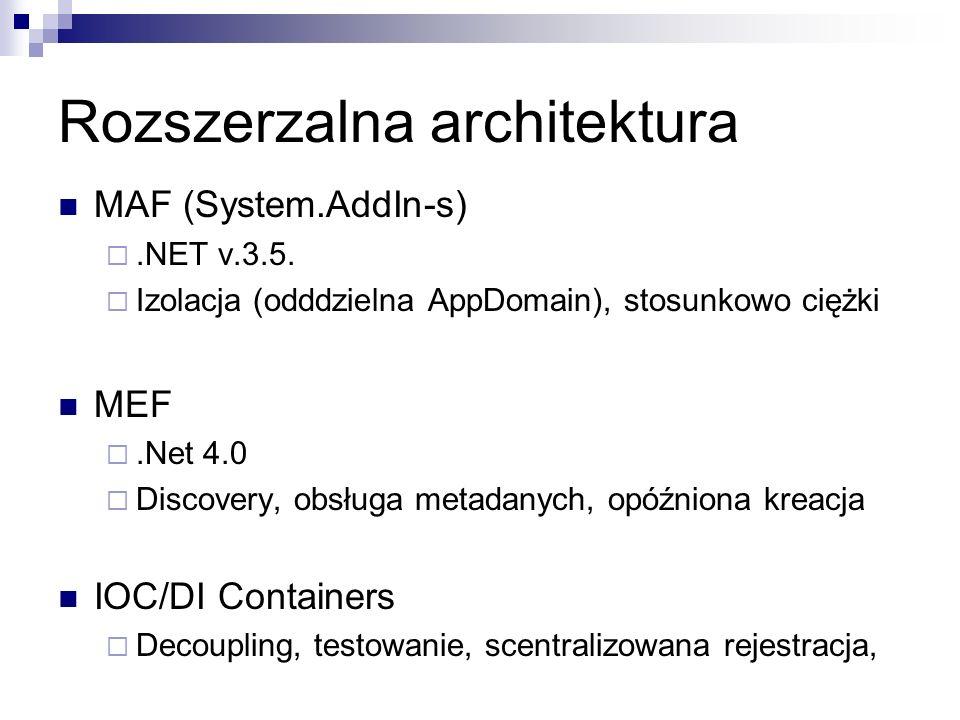Rozszerzalna architektura MAF (System.AddIn-s).NET v.3.5. Izolacja (odddzielna AppDomain), stosunkowo ciężki MEF.Net 4.0 Discovery, obsługa metadanych