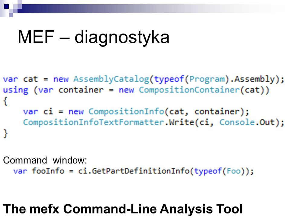 Command window: The mefx Command-Line Analysis Tool