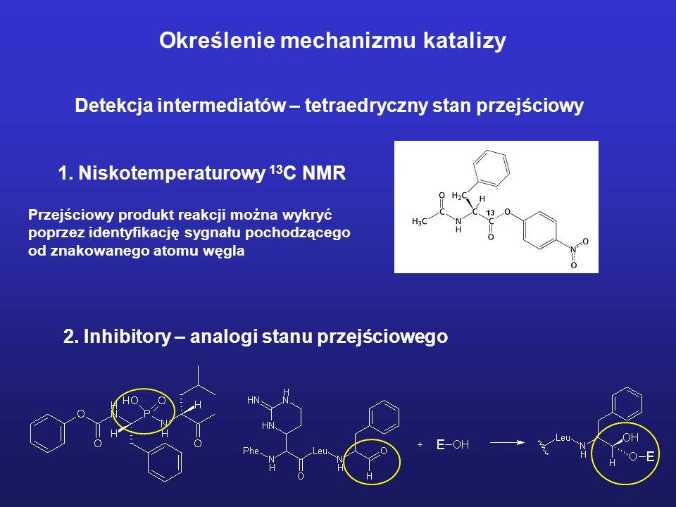 Określenie mechanizmu katalizy Detekcja intermediatów - acyloenzym Acyloenzym powstający w wyniku działania octanu p-nitrofenylu na chymotrypsynę można wyizolować, jeżeli reakcję prowadzi się w niskim pH
