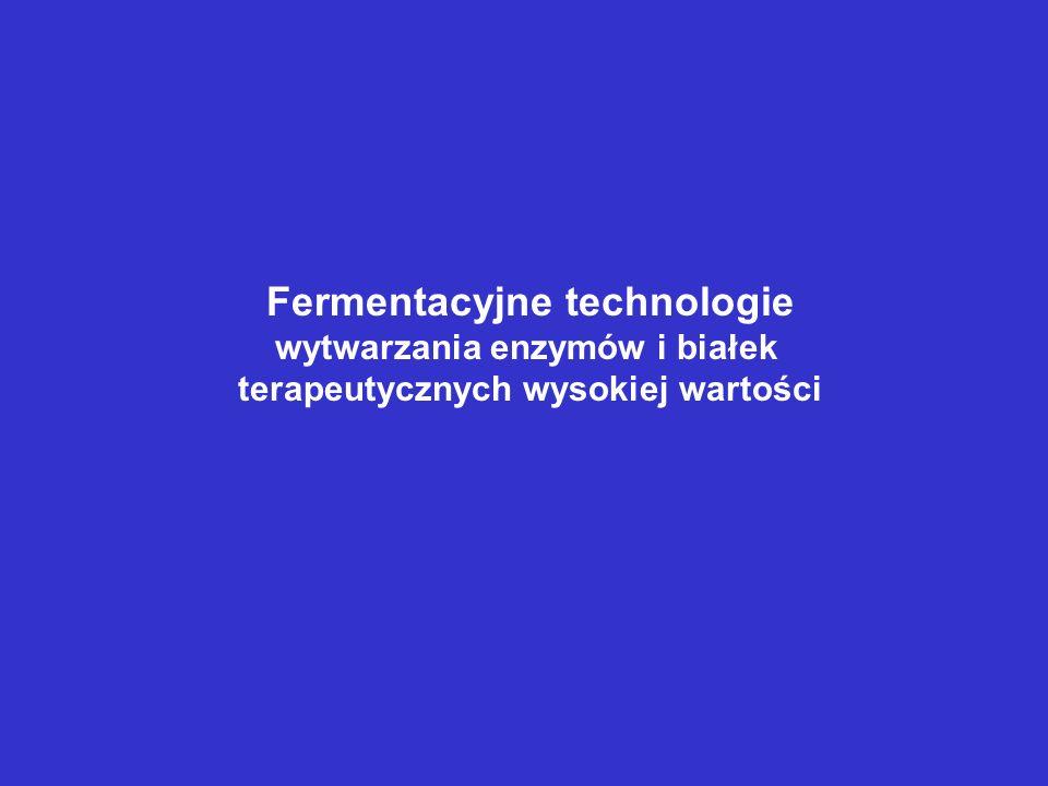 Fermentacyjne technologie wytwarzania enzymów i białek terapeutycznych wysokiej wartości