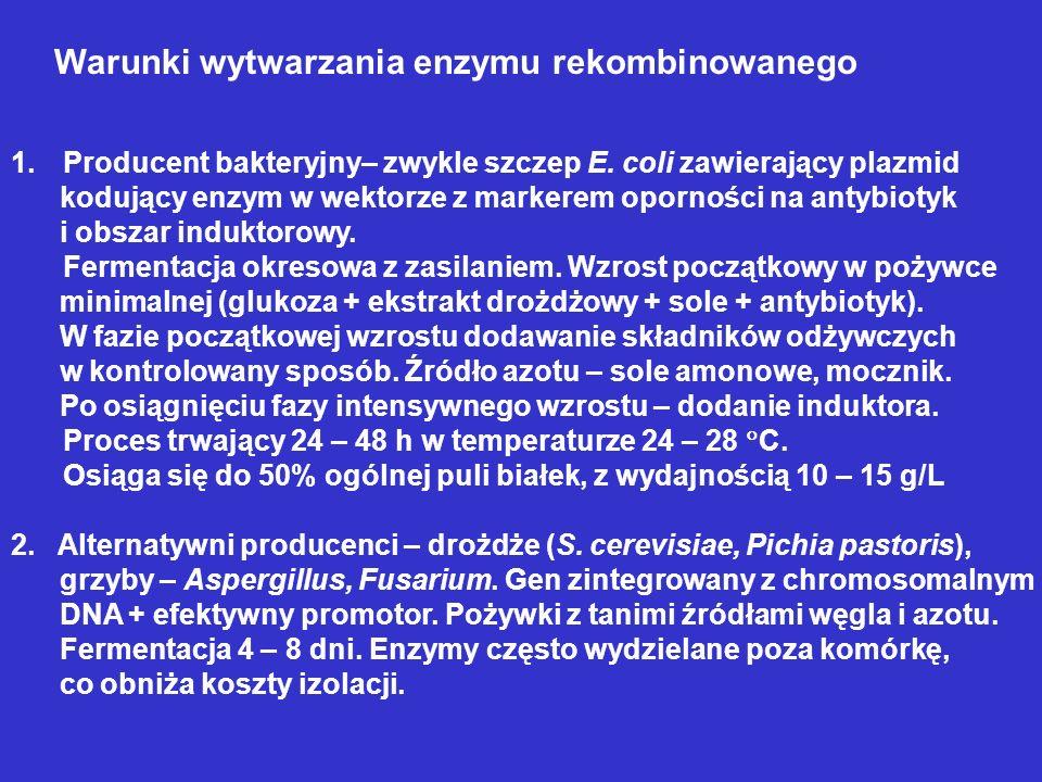 Warunki wytwarzania enzymu rekombinowanego 1.Producent bakteryjny– zwykle szczep E. coli zawierający plazmid kodujący enzym w wektorze z markerem opor
