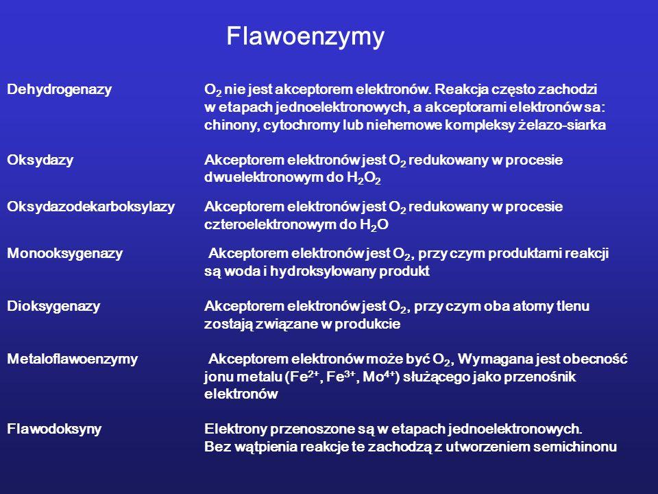 Flawoenzymy DehydrogenazyO 2 nie jest akceptorem elektronów.