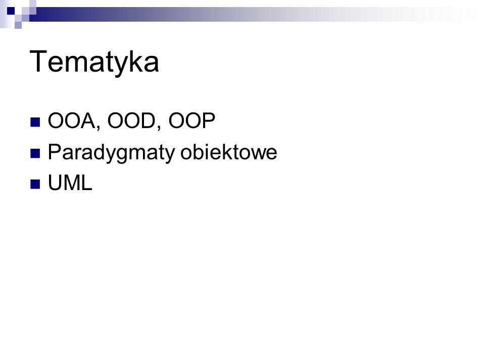 Tematyka OOA, OOD, OOP Paradygmaty obiektowe UML