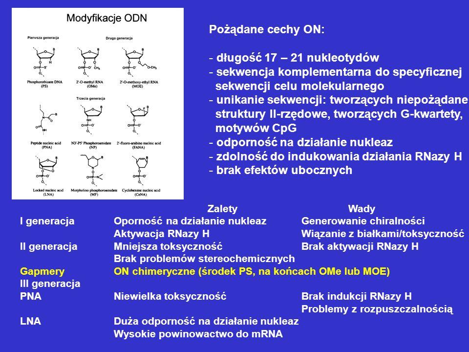 ZaletyWady I generacjaOporność na działanie nukleazGenerowanie chiralności Aktywacja RNazy HWiązanie z białkami/toksyczność II generacjaMniejsza toksy