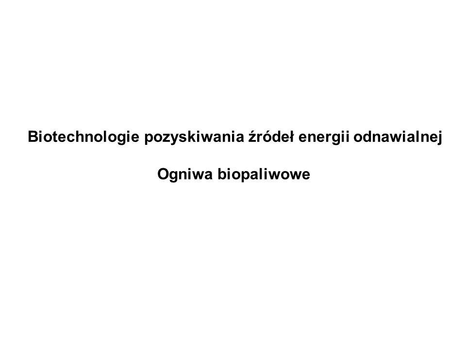 Biotechnologie pozyskiwania źródeł energii odnawialnej Ogniwa biopaliwowe