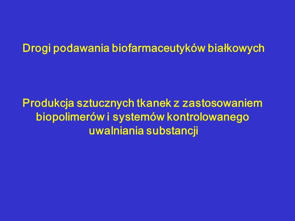 Drogi podawania biofarmaceutyków białkowych Produkcja sztucznych tkanek z zastosowaniem biopolimerów i systemów kontrolowanego uwalniania substancji