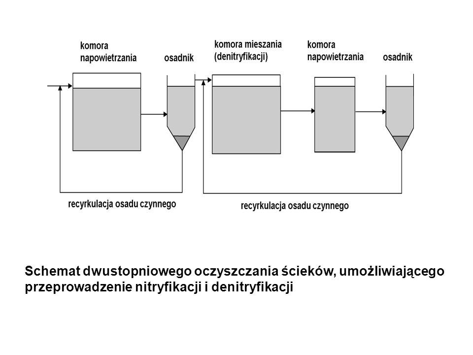 Schemat dwustopniowego oczyszczania ścieków, umożliwiającego przeprowadzenie nitryfikacji i denitryfikacji