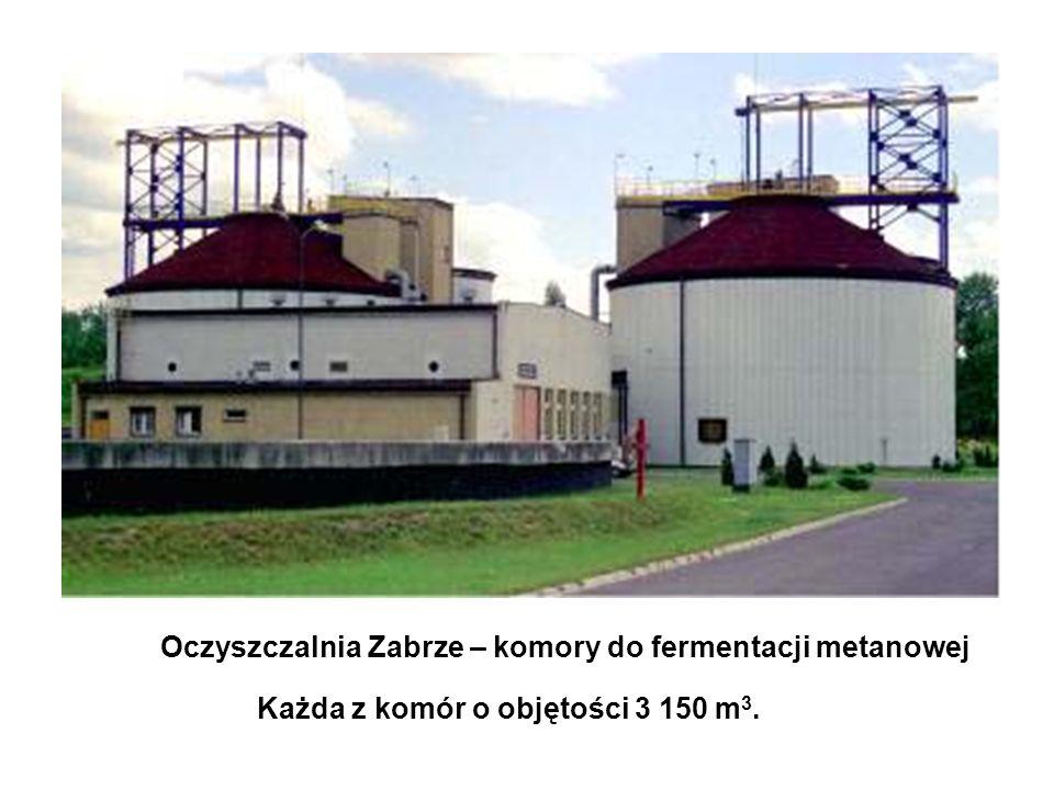 Oczyszczalnia Zabrze – komory do fermentacji metanowej Każda z komór o objętości 3 150 m 3.