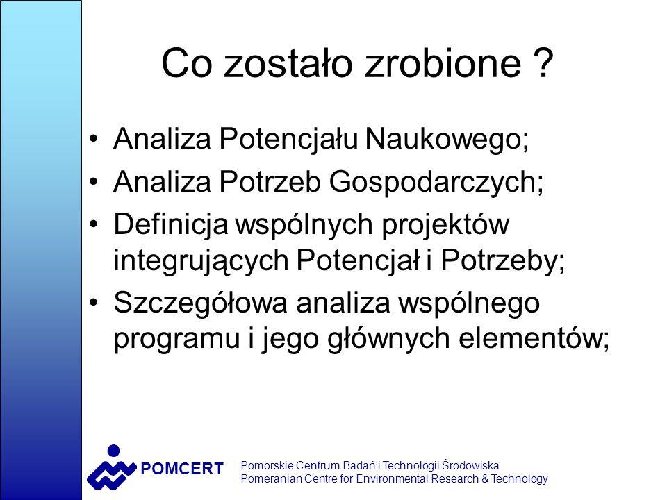 POMCERT Pomorskie Centrum Badań i Technologii Środowiska Pomeranian Centre for Environmental Research & Technology Moduł Ekotechnologie Lider Obszaru: Prof.