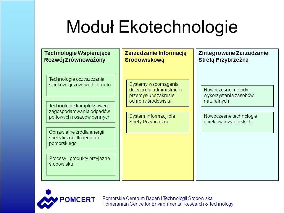 POMCERT Pomorskie Centrum Badań i Technologii Środowiska Pomeranian Centre for Environmental Research & Technology Technologie Wspierające Rozwój Zrównoważony ZIDENTYFIKOWANE POTRZEBY POTENCJALNI ODBIORCY PRZYKŁADOWI ODBORCY technologie alternatywnych źródeł energii Przedsiębiorcy, inwestorzy, władze Grupa Lotos, producenci biopaliw efektywne technologie zapobiegające zanieczyszczeniu środowiska Firmy, Przedsiębiorstwa, Zakłady, władze Grupa Lotos, Polpharma, Stocznie, International Paper, energetyczne wykorzystanie odpadówFirmy, władze EC, Zakłady Utylizacji, Gdańsk, Tczew technologie monitoringu i modelowania środowiska Władze i odpowiedzialne istytucje Urząd Wojewódzki, ARMAAG, WIOŚ, RZGW