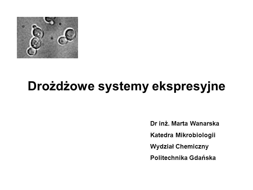 Zastosowanie drożdżowych systemów ekspresyjnych Produkcja białek wirusowych prokariotycznych eukariotycznych których wytwarzanie na innej drodze jest trudne, niebezpieczne, ekonomicznie nieopłacalne Produkcja metabolitów niebiałkowych alkoholi kwasów organicznych cukrów z wykorzystaniem substratów odpadowych (serwatka, glicerol, hydrolizaty biomasy roślinnej)