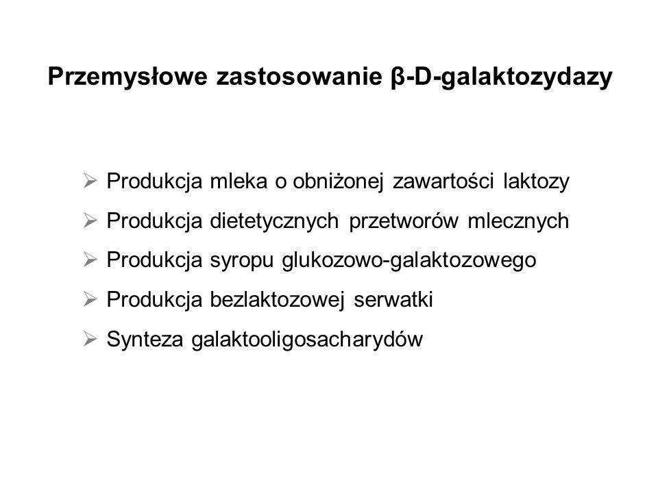 Przemysłowe zastosowanie β-D-galaktozydazy Produkcja mleka o obniżonej zawartości laktozy Produkcja dietetycznych przetworów mlecznych Produkcja syropu glukozowo-galaktozowego Produkcja bezlaktozowej serwatki Synteza galaktooligosacharydów