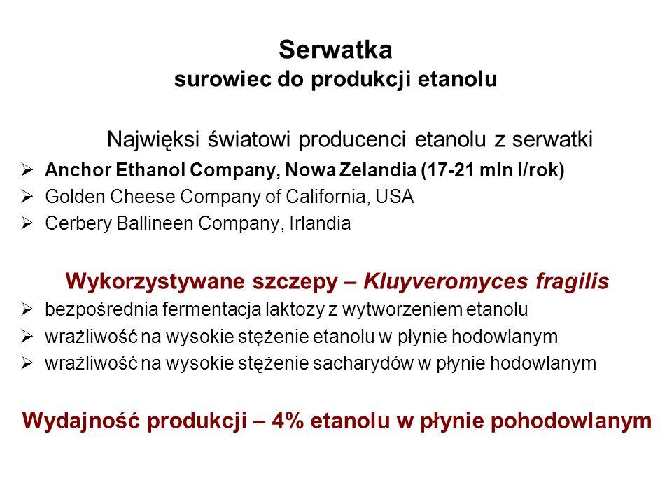 Serwatka surowiec do produkcji etanolu Najwięksi światowi producenci etanolu z serwatki Anchor Ethanol Company, Nowa Zelandia (17-21 mln l/rok) Golden