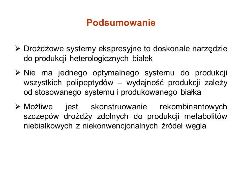 Podsumowanie Drożdżowe systemy ekspresyjne to doskonałe narzędzie do produkcji heterologicznych białek Nie ma jednego optymalnego systemu do produkcji wszystkich polipeptydów – wydajność produkcji zależy od stosowanego systemu i produkowanego białka Możliwe jest skonstruowanie rekombinantowych szczepów drożdży zdolnych do produkcji metabolitów niebiałkowych z niekonwencjonalnych źródeł węgla
