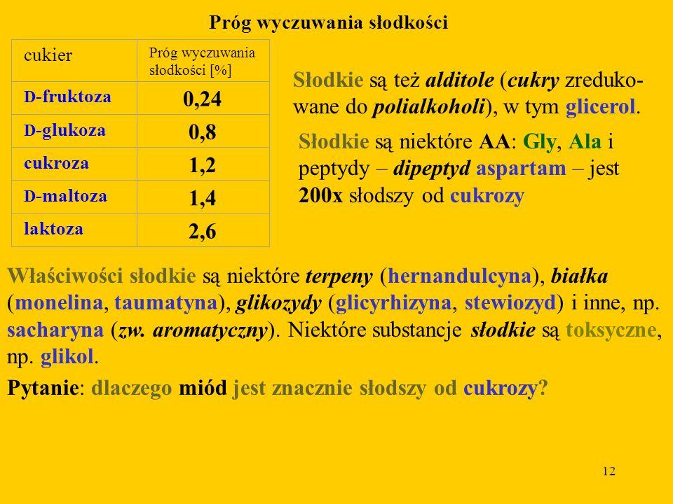 12 Próg wyczuwania słodkości cukier Próg wyczuwania słodkości [%] D -fruktoza 0,24 D -glukoza 0,8 cukroza 1,2 D -maltoza 1,4 laktoza 2,6 Słodkie są też alditole (cukry zreduko- wane do polialkoholi), w tym glicerol.