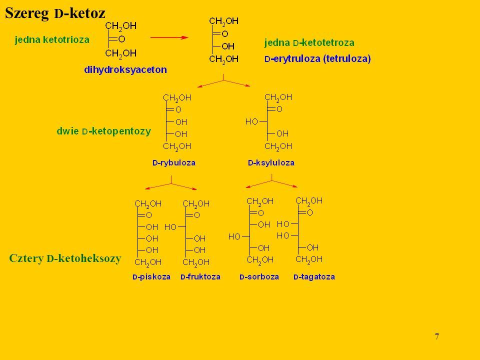 7 Szereg D -ketoz Cztery D -ketoheksozy