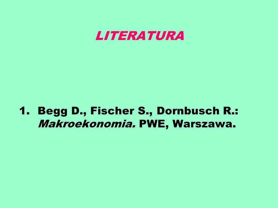 LITERATURA 1.Begg D., Fischer S., Dornbusch R.: Makroekonomia. PWE, Warszawa.