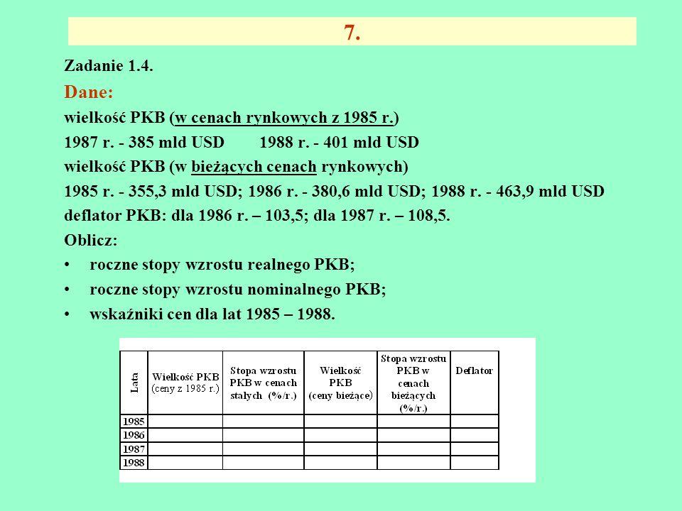 6. Zadanie 1.3. W danym roku wielkości makroekonomiczne kształtowały się następująco: Wybierz odpowiednie dane z tabeli i oblicz metodą wydatkową: - P