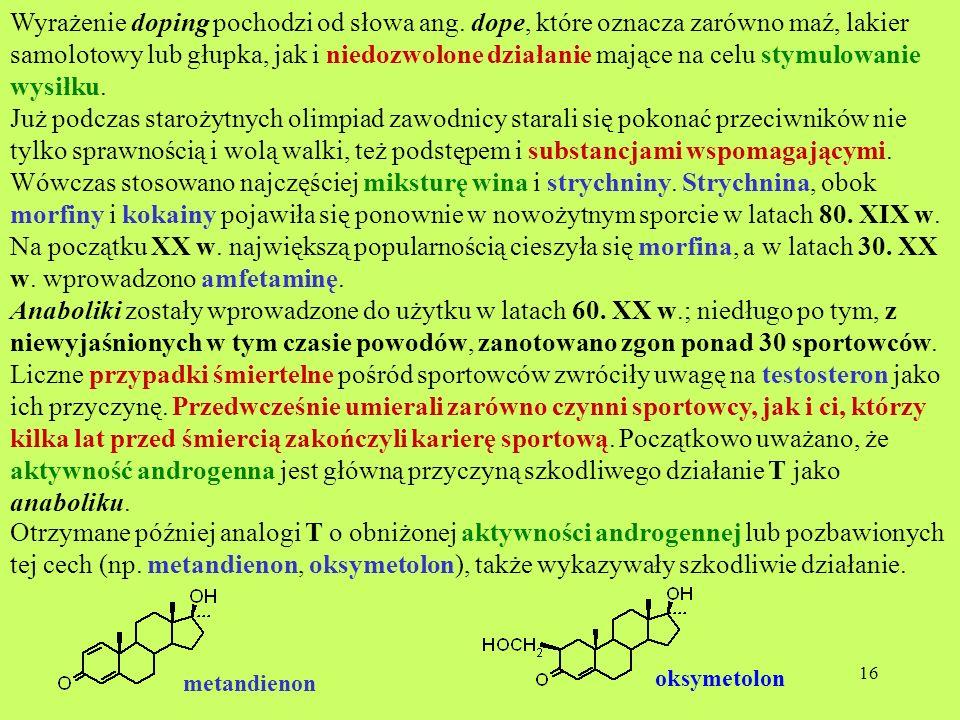 16 Wyrażenie doping pochodzi od słowa ang. dope, które oznacza zarówno maź, lakier samolotowy lub głupka, jak i niedozwolone działanie mające na celu