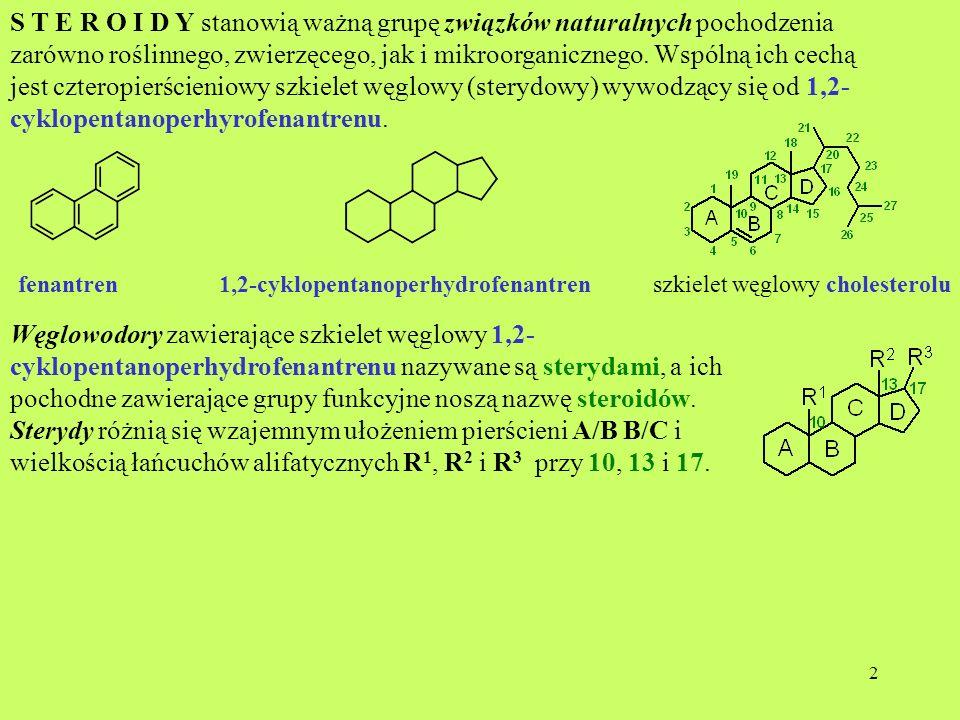 3 R1 R1 R 2 R3 R3 Przykłady A/B – cis (normalny) A/B – tras (allo) -CH 3 -Htestanandrostan -CH 3 -H estran -CH 3 -CH 2 CH 3 pregnanallopregnan-CH 3 -CH(CH 3 )CH 2 CH 2 CH 3 cholanallocholan -CH 3 -CH(CH 3 )(CH 2 ) 3 CH(CH 3 ) 2 koprostancholestan Łańcuchy boczne determinują grupy sterydów Stereochemia sterydów Pierścienie A i B, podobnie jak w dekalinie, mogą być ułożone w stosunku do siebie w sposób cis- lub trans-.