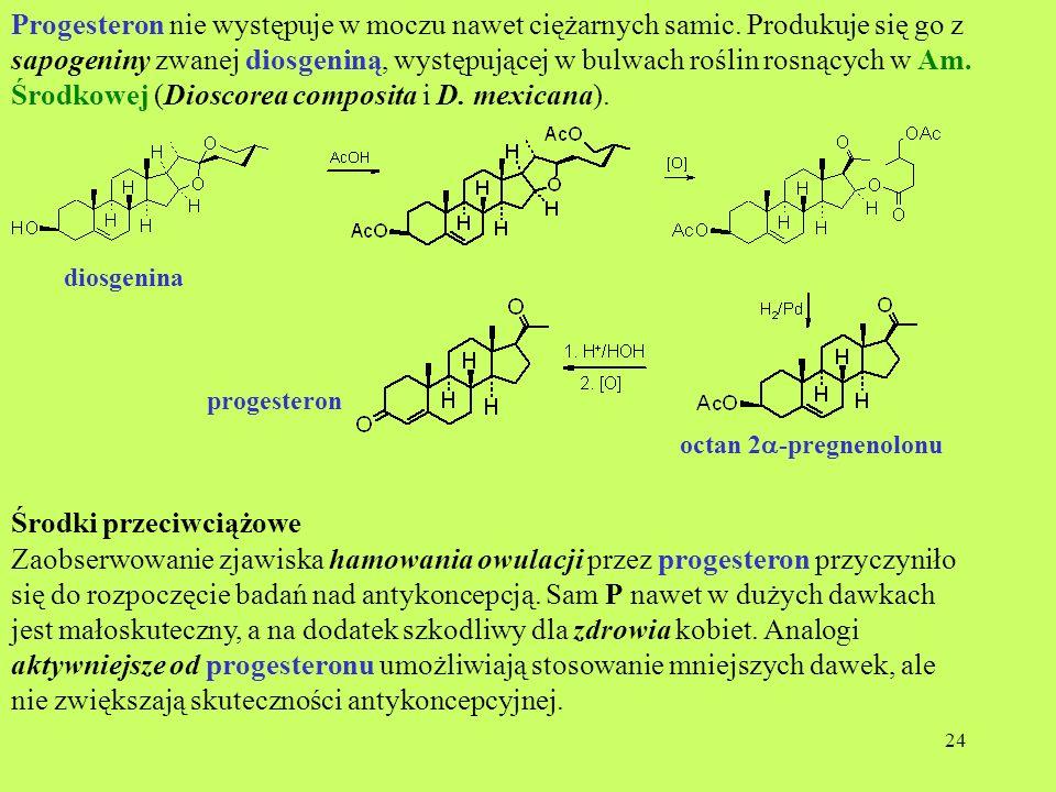 24 Progesteron nie występuje w moczu nawet ciężarnych samic. Produkuje się go z sapogeniny zwanej diosgeniną, występującej w bulwach roślin rosnących