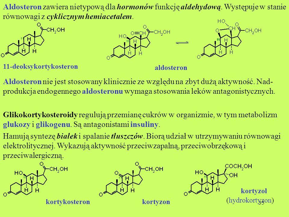 35 Aldosteron zawiera nietypową dla hormonów funkcję aldehydową. Występuje w stanie równowagi z cyklicznym hemiacetalem. 11-deoksykortykosteron Aldost