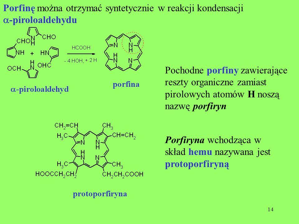 14 -piroloaldehyd porfina Porfinę można otrzymać syntetycznie w reakcji kondensacji -piroloaldehydu Pochodne porfiny zawierające reszty organiczne zam