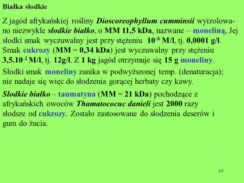 35 Białka słodkie Z jagód afrykańskiej rośliny Dioscoreophyllum cumminsii wyizolowa- no niezwykle słodkie białko, o MM 11,5 kDa, nazwane – moneliną, J