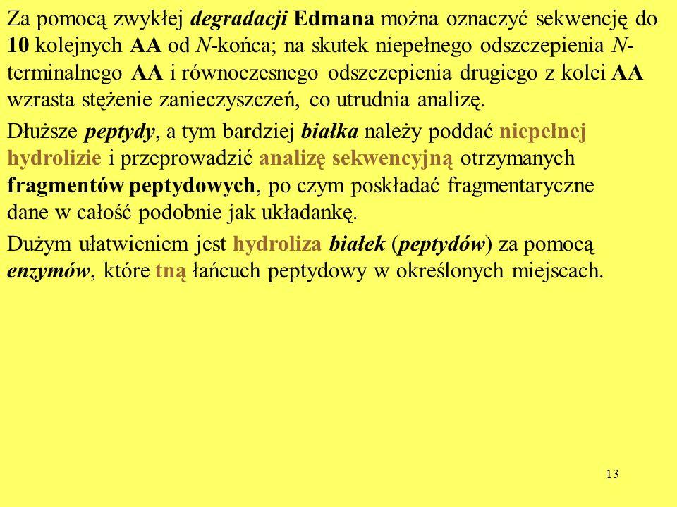 13 Za pomocą zwykłej degradacji Edmana można oznaczyć sekwencję do 10 kolejnych AA od N-końca; na skutek niepełnego odszczepienia N- terminalnego AA i