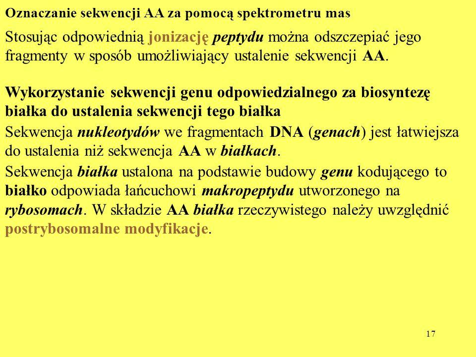 17 Oznaczanie sekwencji AA za pomocą spektrometru mas Stosując odpowiednią jonizację peptydu można odszczepiać jego fragmenty w sposób umożliwiający u