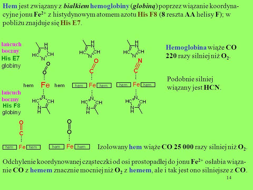 14 Hem jest związany z białkiem hemoglobiny (globiną) poprzez wiązanie koordyna- cyjne jonu Fe 2+ z histydynowym atomem azotu His F8 (8 reszta AA heli
