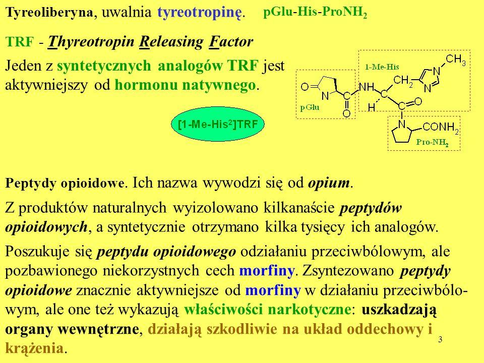 4 Enkefaliny, są to pentapeptydy, początkowo odkryte w mózgu, stąd ich nazwa (gr.