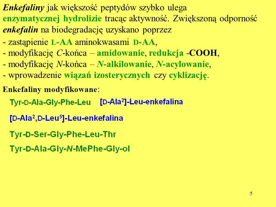 6 Aktywność przeciwbólowa i selektywność morfiny i opioidów Analgetyk IC 50 (nM) Selektyw- ność ( / ) MVD/GPI GPIMVD Morfina 70 390 5,6 Met-enkefalina 157 15 0,1 Leu-enkafelina 246 11 0,05 -endorfina 67 82 1,2Dermorfina 3 29 9Dynorfina A(1-13) 231 162 0,1 [ -Ala]-Met-enkefalina >1500>3000 >2[Ala 1 ]-dynorfina A(1-13) 75025 500 34 Tyr-Ala-Gly-NHCH(CH 3 )CH 2 CH(CH 3 ) 2 >5.10 4 ~1 Na podstawie aktywności w testach GPI i MVG można oszacować względną selektywność preparatu wobec receptorów i Tyr- D -Met-Gly-MePhe-ol (syndyphalin)>10 5