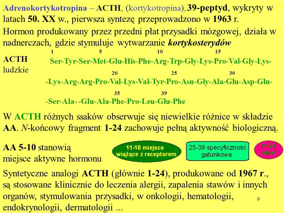 10 Prekursorem ACTH jest glikoproteina - proopiomelanokortyna.