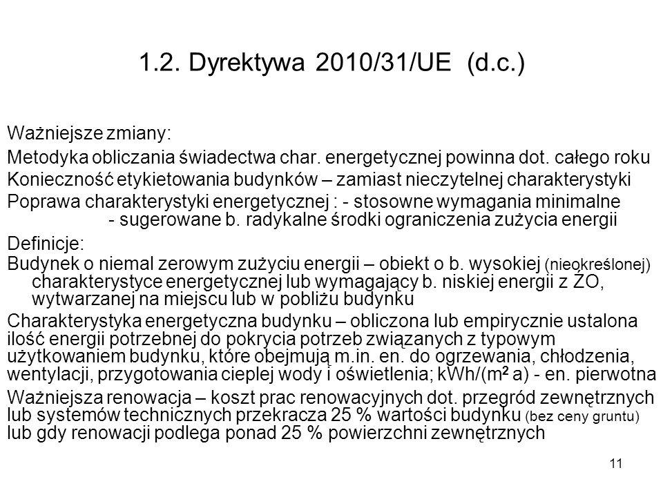 11 1.2. Dyrektywa 2010/31/UE (d.c.) Ważniejsze zmiany: Metodyka obliczania świadectwa char. energetycznej powinna dot. całego roku Konieczność etykiet