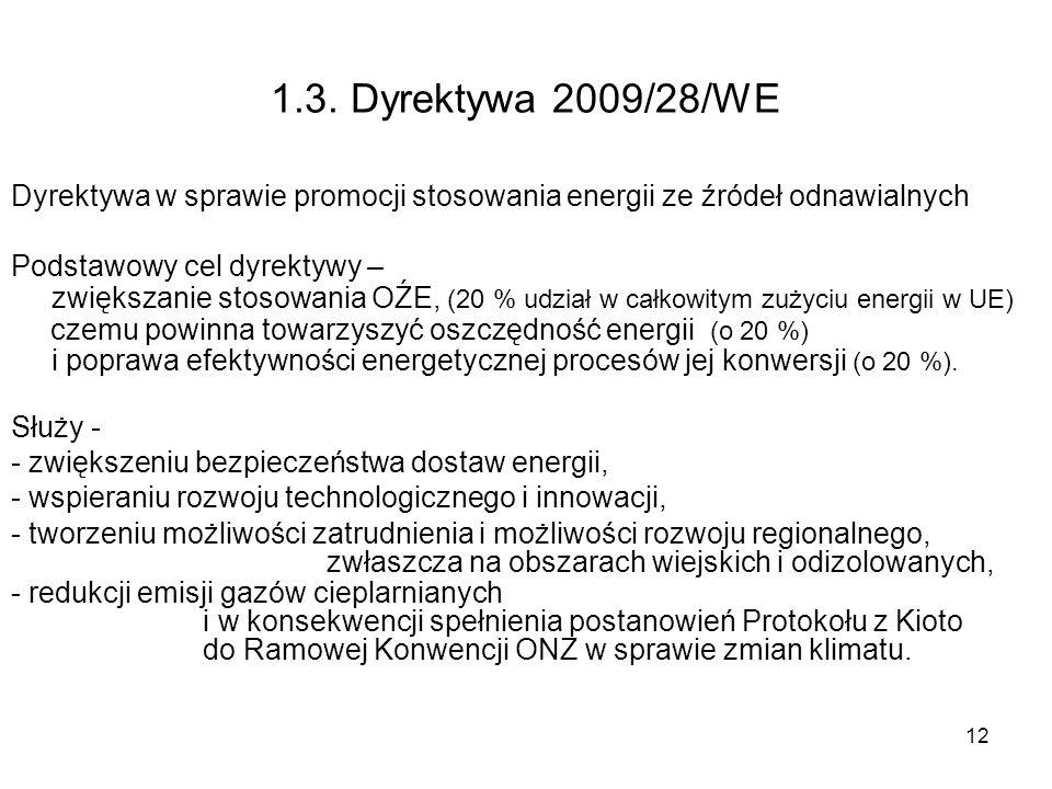 12 1.3. Dyrektywa 2009/28/WE Dyrektywa w sprawie promocji stosowania energii ze źródeł odnawialnych Podstawowy cel dyrektywy – zwiększanie stosowania