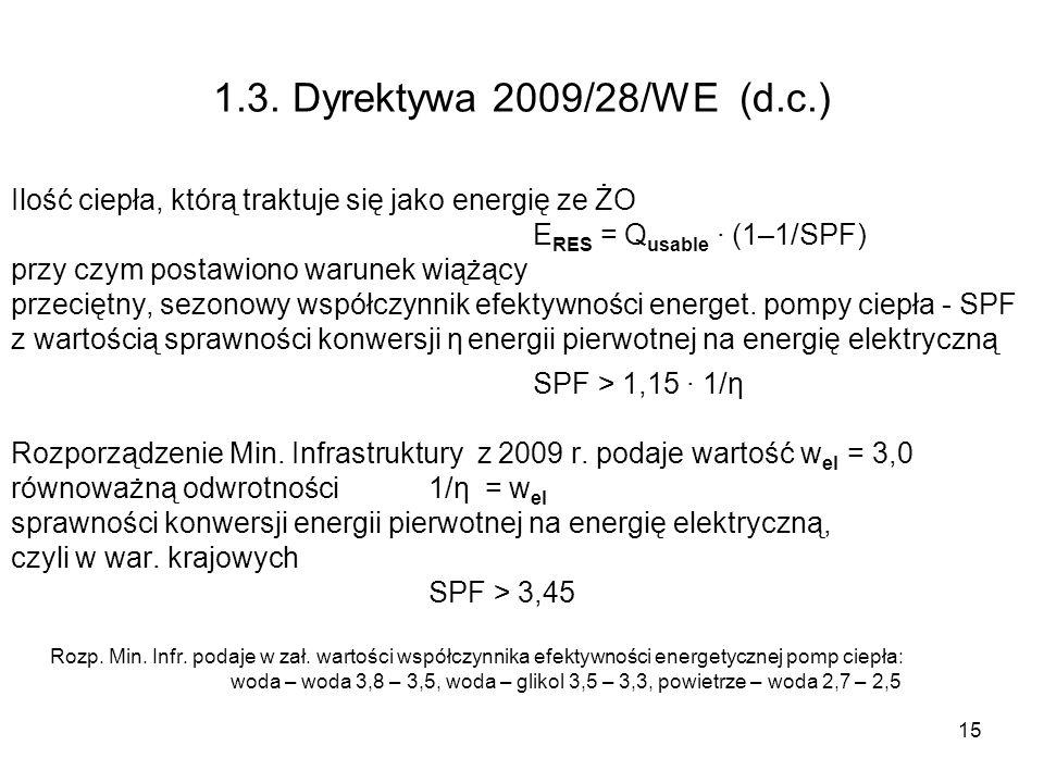 15 1.3. Dyrektywa 2009/28/WE (d.c.) Ilość ciepła, którą traktuje się jako energię ze ŻO E RES = Q usable (1–1/SPF) przy czym postawiono warunek wiążąc
