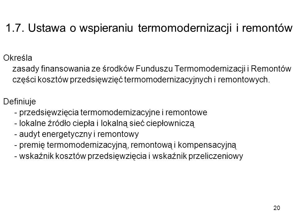 20 1.7. Ustawa o wspieraniu termomodernizacji i remontów Określa zasady finansowania ze środków Funduszu Termomodernizacji i Remontów części kosztów p