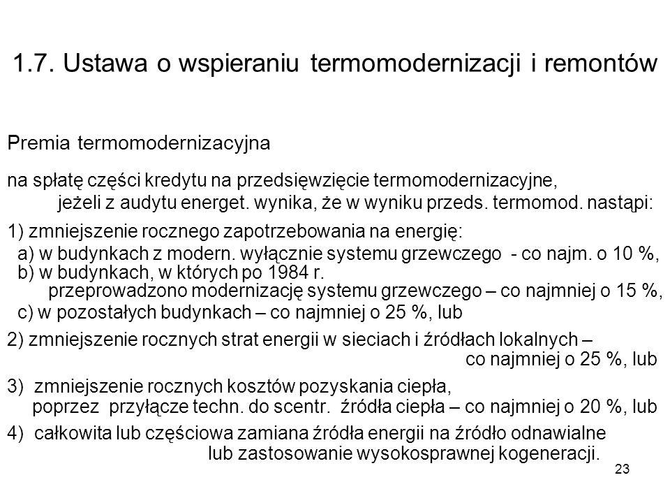 23 1.7. Ustawa o wspieraniu termomodernizacji i remontów Premia termomodernizacyjna na spłatę części kredytu na przedsięwzięcie termomodernizacyjne, j