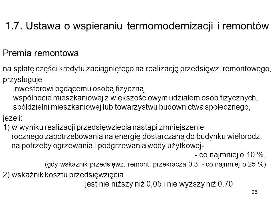 25 1.7. Ustawa o wspieraniu termomodernizacji i remontów Premia remontowa na spłatę części kredytu zaciągniętego na realizację przedsięwz. remontowego