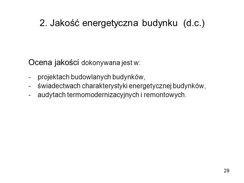 29 2. Jakość energetyczna budynku (d.c.) Ocena jakości dokonywana jest w: -projektach budowlanych budynków, -świadectwach charakterystyki energetyczne