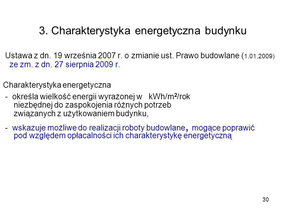 30 3. Charakterystyka energetyczna budynku Ustawa z dn. 19 września 2007 r. o zmianie ust. Prawo budowlane ( 1.01.2009) ze zm. z dn. 27 sierpnia 2009