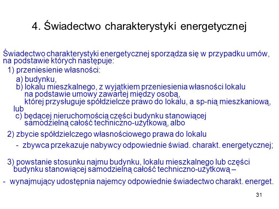 31 4. Świadectwo charakterystyki energetycznej Świadectwo charakterystyki energetycznej sporządza się w przypadku umów, na podstawie których następuje